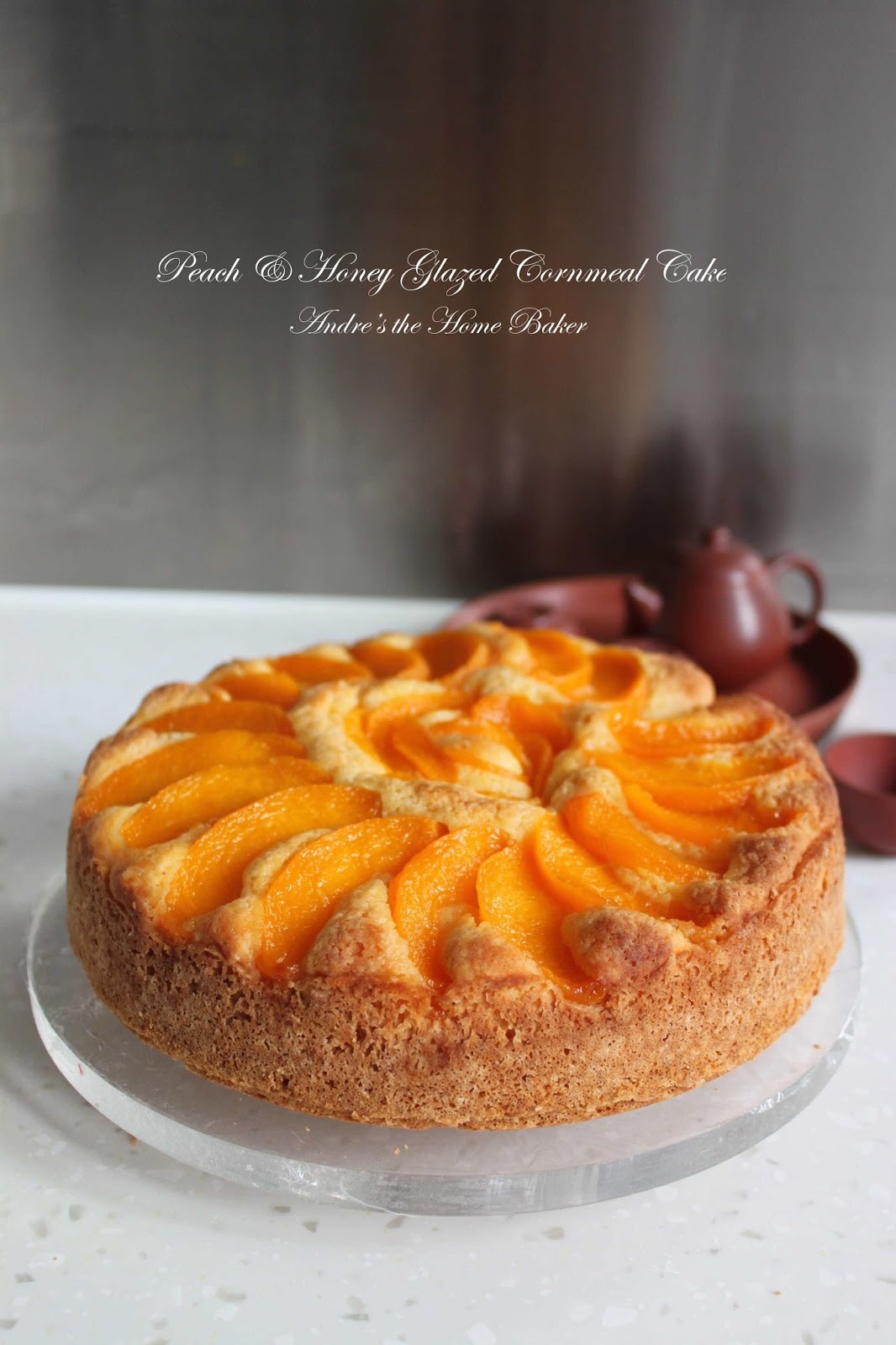 ♥ Peach & Honey Glazed Cornmeal Cake ♥