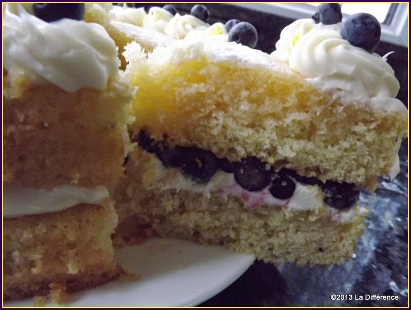 Lemon, Mascarpone Drizzle Cake with Blueberries