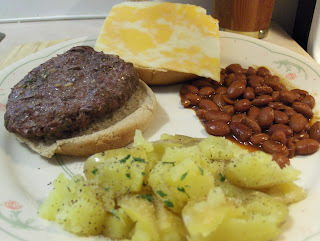 Grilled Bison Burger w/ Kicked Up Spicy Chili Beans and Smashed Potatoes