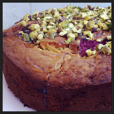 Rhubarb, Banana and Yogurt Cake with Pistachios and Honey