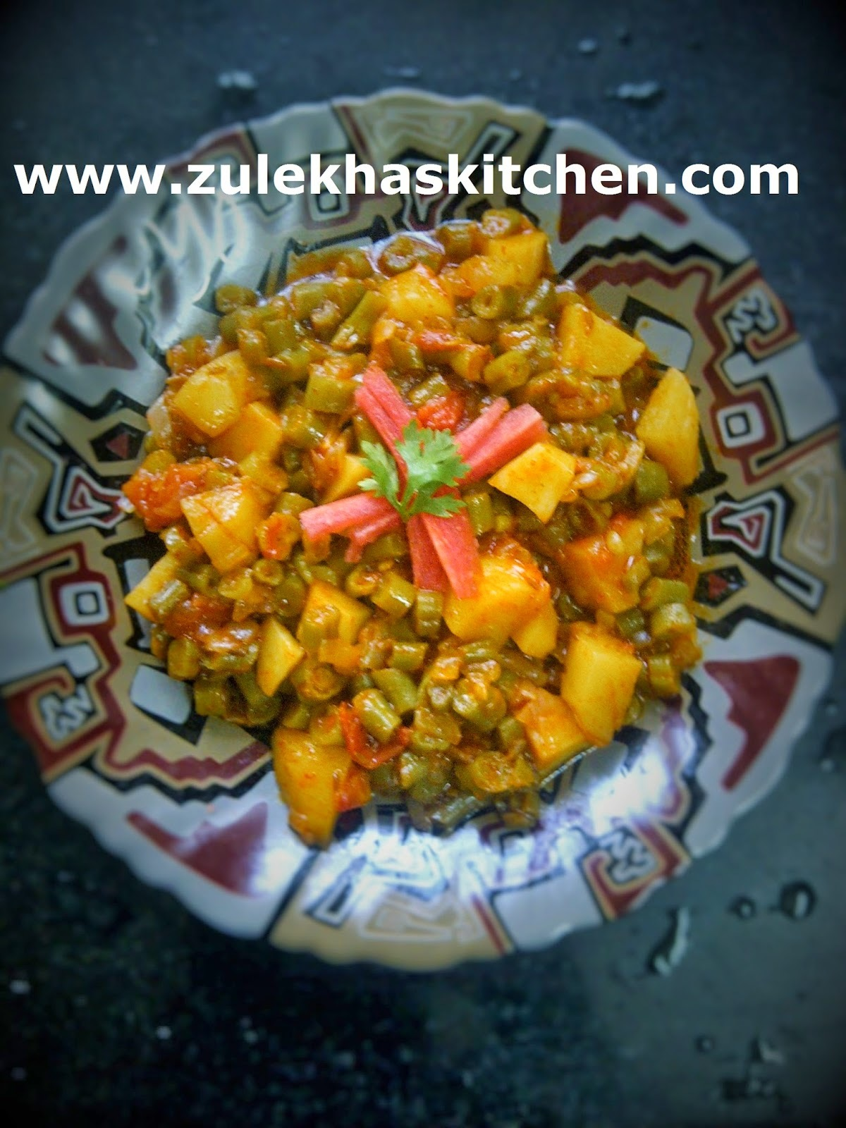 French beans and potatoes sabzi