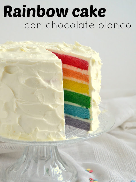 Rainbow cake de chocolate blanco