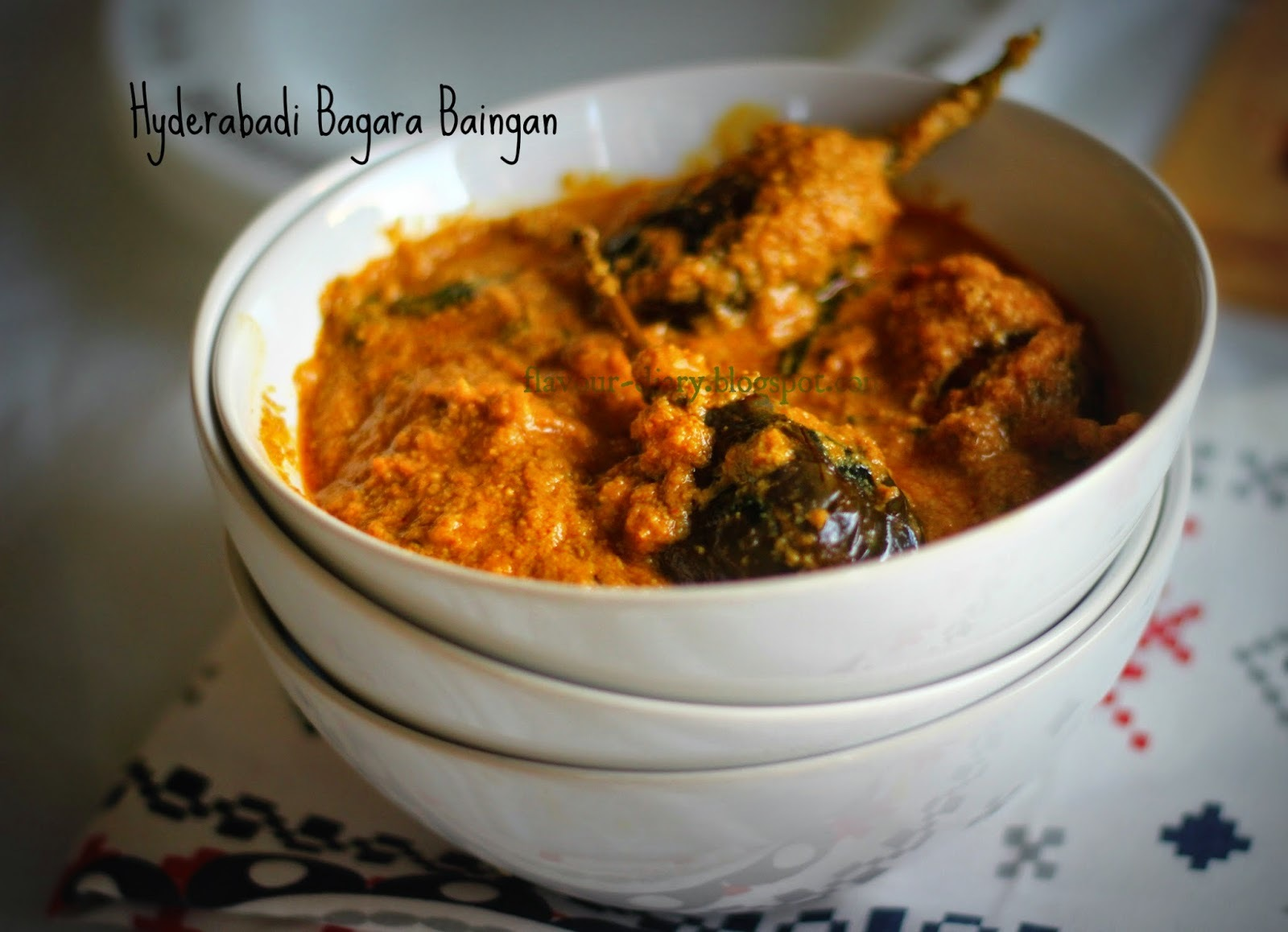 Hyderabadi Bagara Baingan -- Eggplant in tangy masala Curry