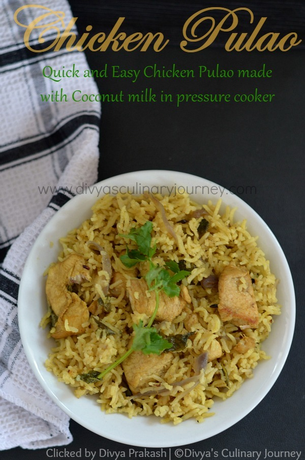 Chicken Pulao recipe ( in Pressure Cooker) | Chicken pulav with coconut milk