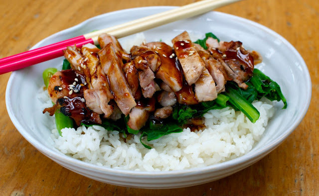 teriyaki chicken with choy sum and sushi rice