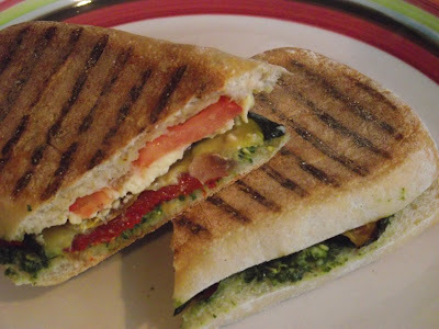 Panini with Roasted Veggies and Lemon-Basil Pesto