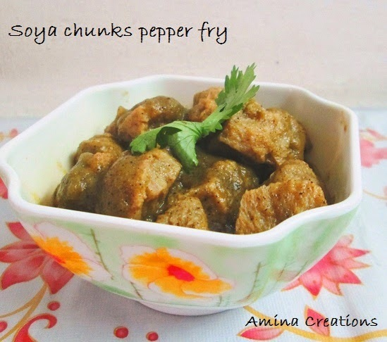 SOYA CHUNKS PEPPER FRY