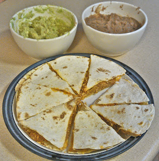 Chicken Quesadilla with Refried Beans and Guacamole