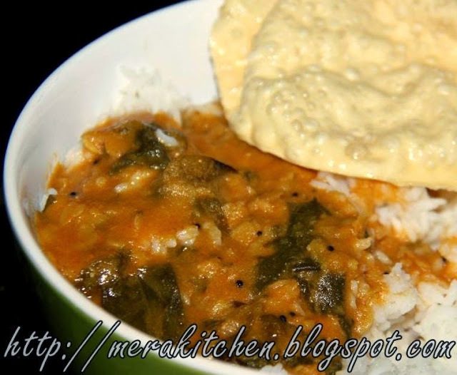 Palak ani Dalichi Vatun Amti - Coconut based Dal curry with Spinach