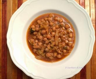 zuppa piccante con ceci e verza