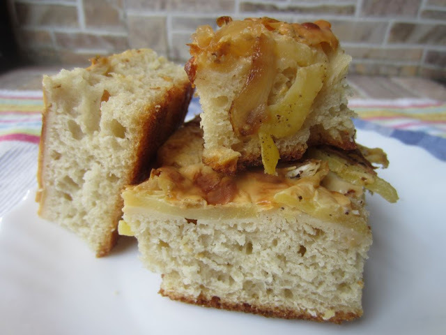 Caramalised Onions, Potato and Cheese Focaccia