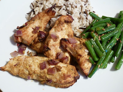 Baked Chicken Curry with Green Beans and Rice
