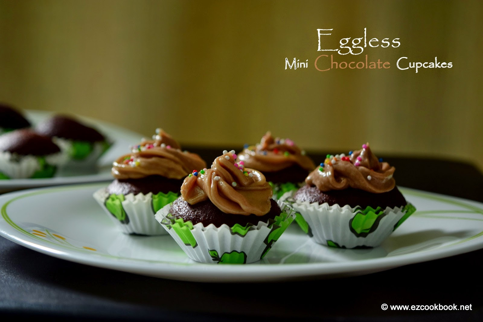 Eggless Mini Chocolate Cupcakes with  Buttercream Frosting