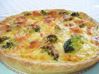 Quiche met verse zalm en broccoli