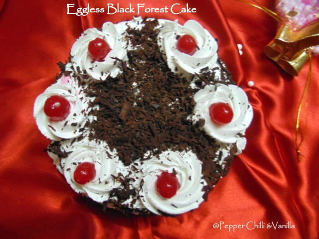 Eggless Black Forest Cake/ Eggless Black Forest Cake Recipe.
