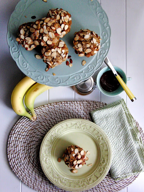 Roasted Banana Honey Nut Muffins...  a Breakfast Picnic on the Morning after a Blizzard...
