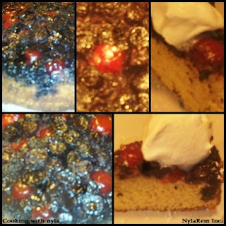Blueberry Cherry upside-Down Cake!