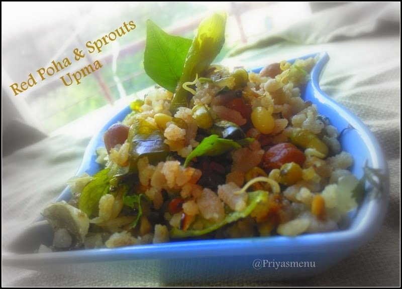 Red Poha & Sprouts Upma / Diet Friendly Recipes