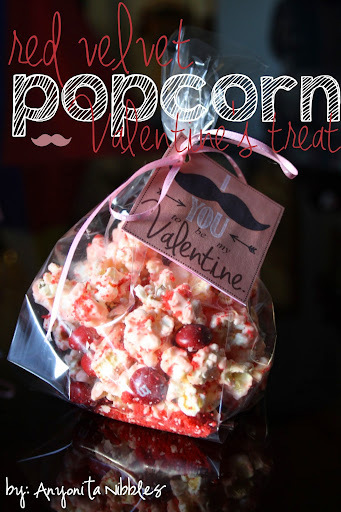 Red Velvet Popcorn Valentine's Treat & I Mustache You to be my Valentine Free Printable