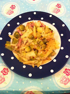 Hearty pasta with brussels sprouts, cheese and potato.