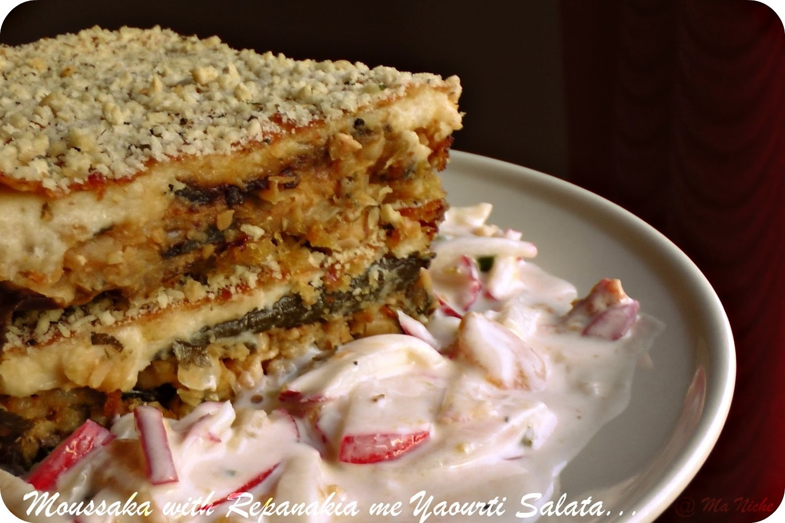 Greek for Meatless Monday : Moussaka with Radish Salad