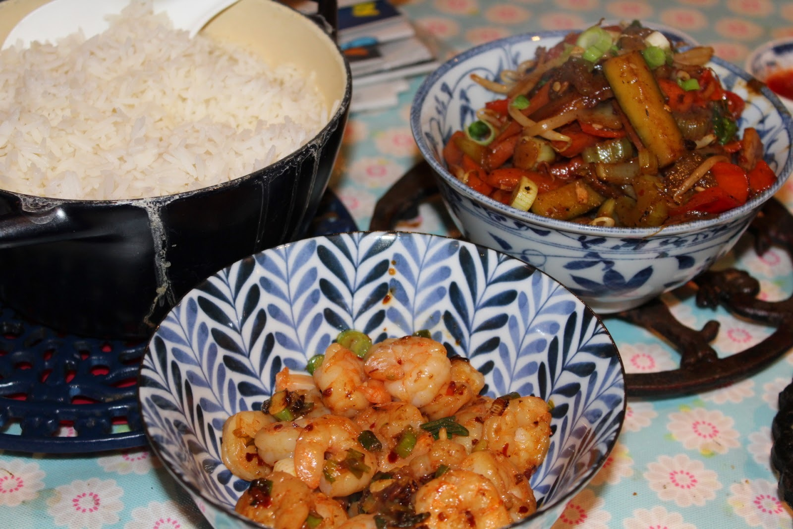 Hot spicy prawns, vegetable stir fry ... more Chinese New Year deliciousness