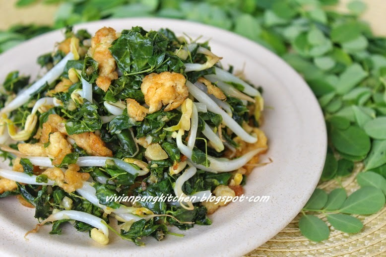 Stir Fry Moringa (Drumstick) Leaves with Sprout