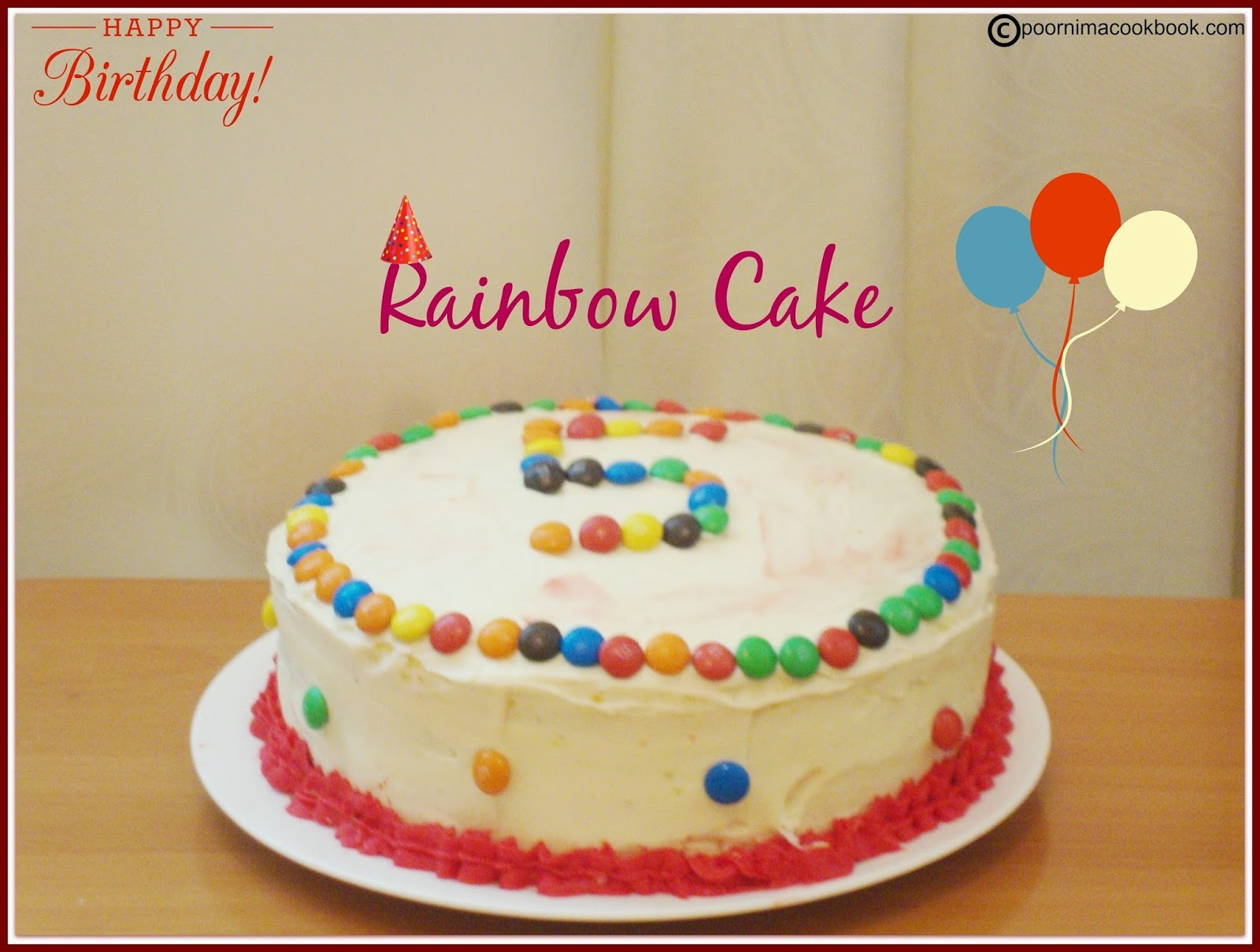 Rainbow Cake / 4 Layer Cake / Layered Rainbow Cake with Cream Cheese Frosting