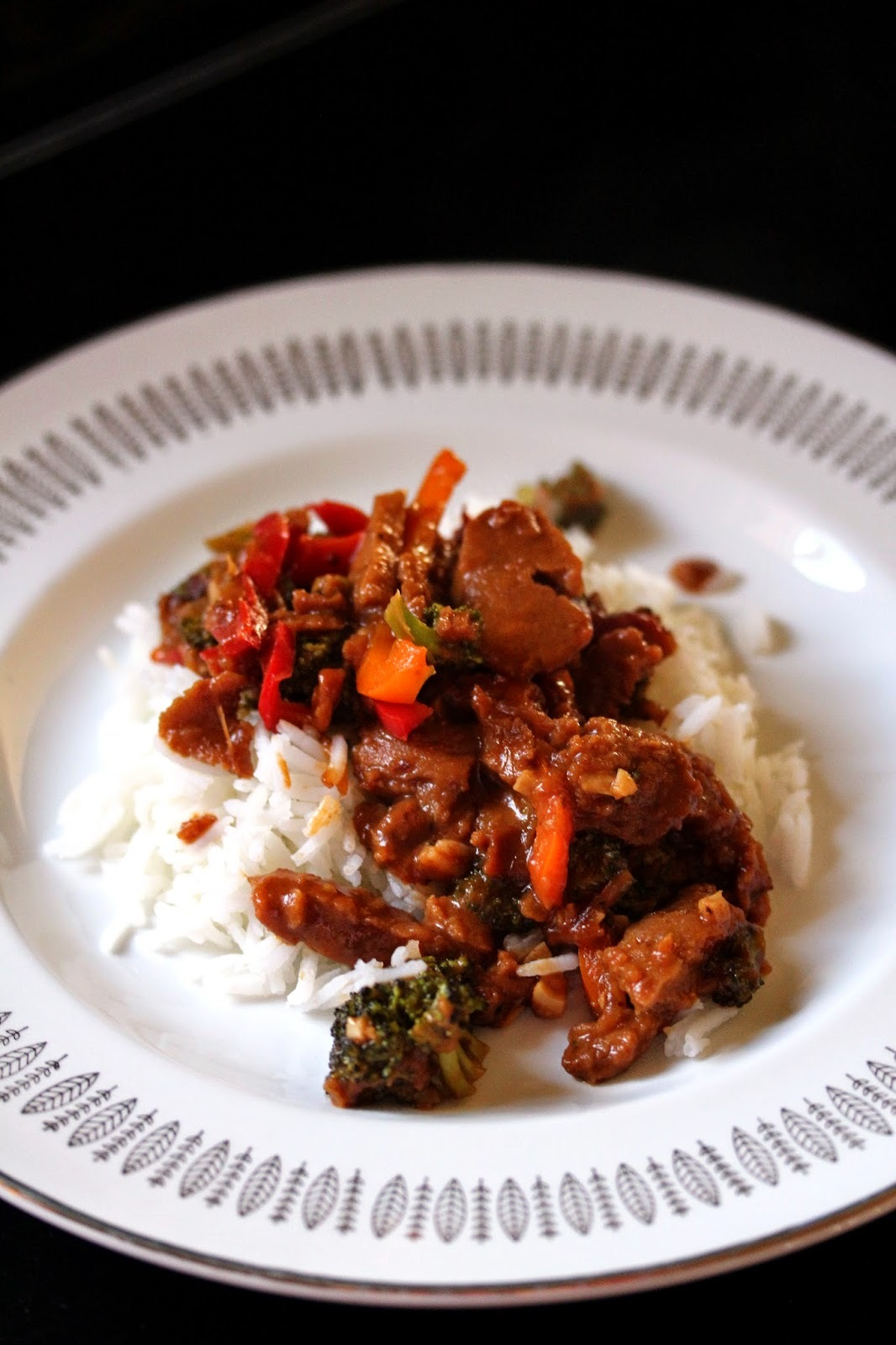 Broccoli, Pepper, and Seitan Stir-Fry over Basmati Rice