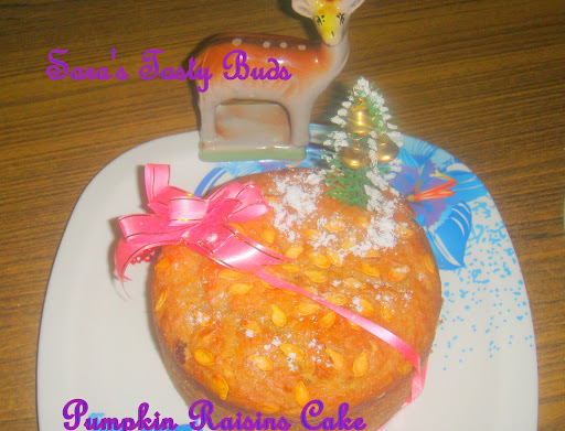 Pumpkin Raisins cake ( Eggless and Butterless )