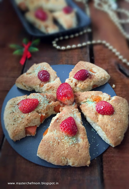 Persimmon Scones | How to make Scones at home | Glutenfree Recipe |Christmas Breakfast | Stepwise Pictures