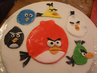 Happy birthday Finn - Elderflower Cake with added Angry Birds!