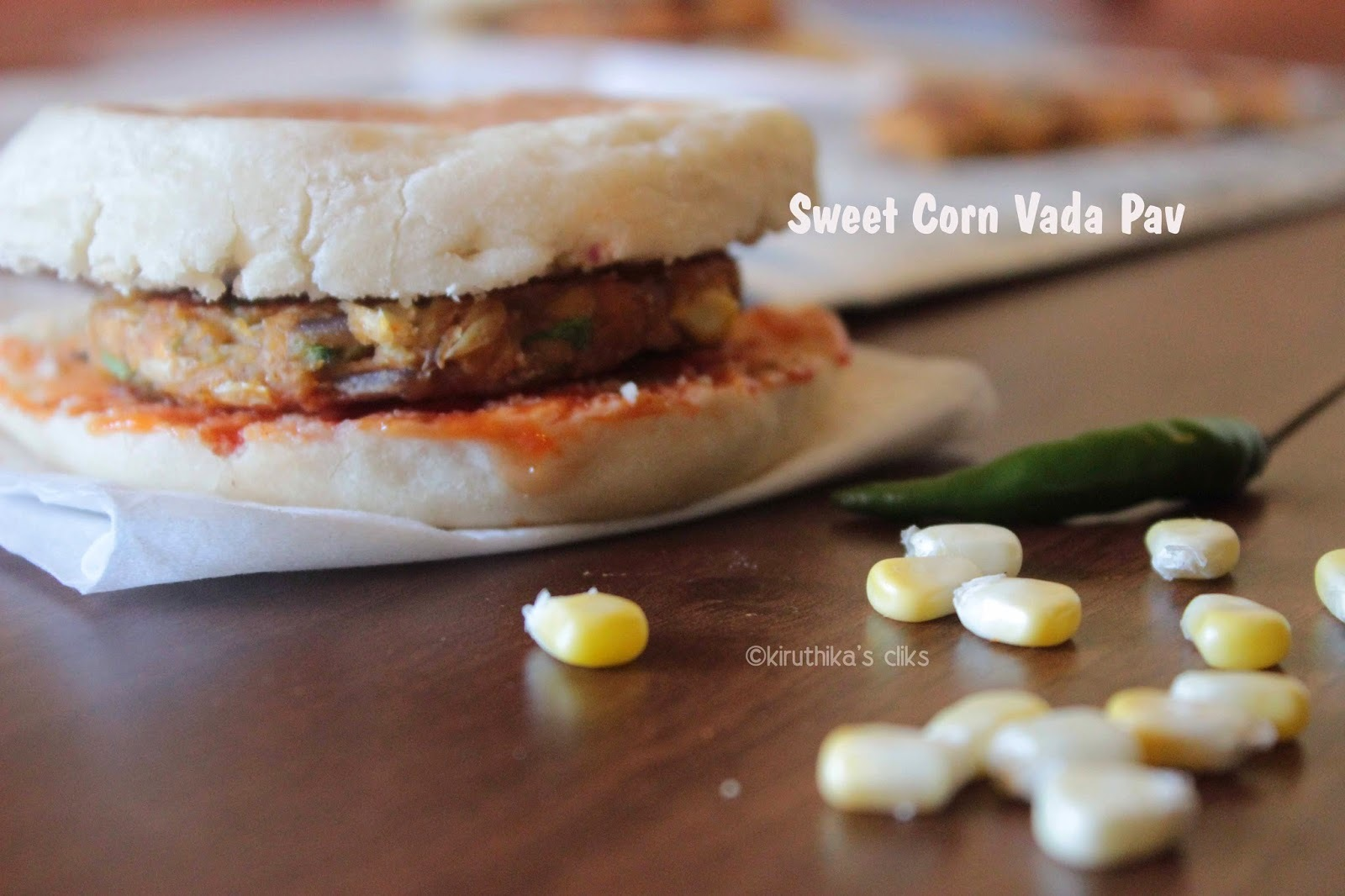 Sweet Corn Vada Pav