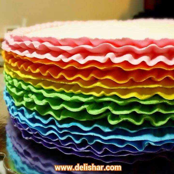 Rainbow Ruffle Chocolate Cake