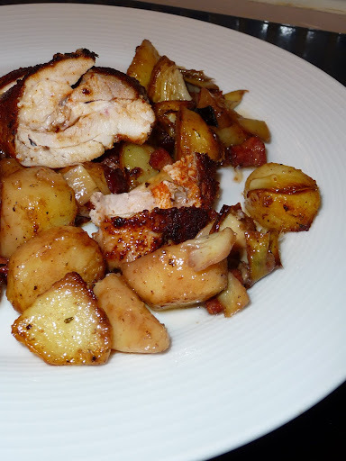 Roasted chicken with pancetta, artichokes and red wine