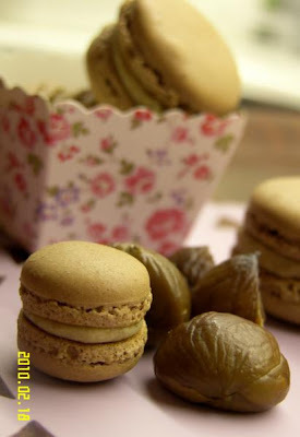 chestnut & white chocolate cream filled macarons