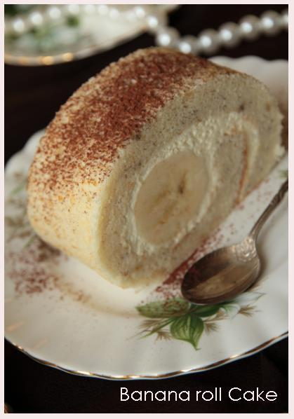 Banana & mascarpone roll....a dilicious banana chiffon roll cake with fresh banana!