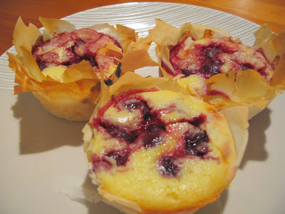 Black Cherry Cream Cheese Souffle in Filo Basket
