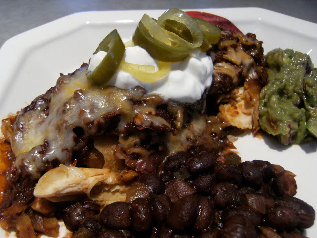 Chicken Enchiladas with Red Sauce, Black Beans and Guacamole