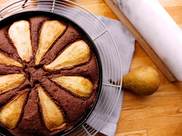 Chocolate and Pear Torte - Gluten free and so very tasty
