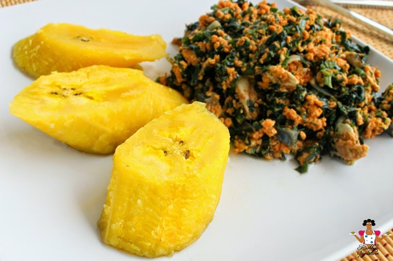 Boiled Plantain with Vegetable egg stew