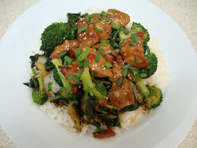 Sesame Chicken with Broccoli and Bok Choy Stir-Fry