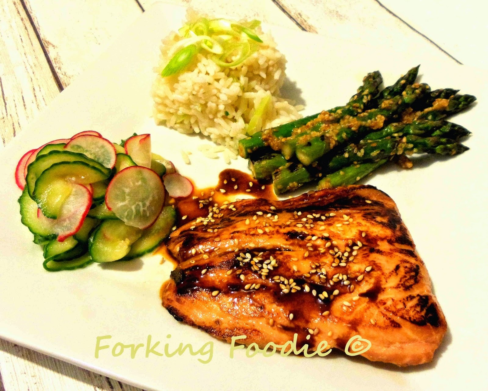 Teriyaki Salmon Meal - with Sesame-Miso Asparagus, Cucumber-Radish Pickles and Rice / Cauliflower Rice