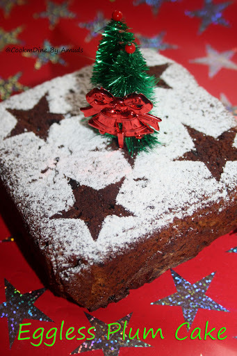 Eggless Plum Cake(Eggless No alcohol Christmas Cake)