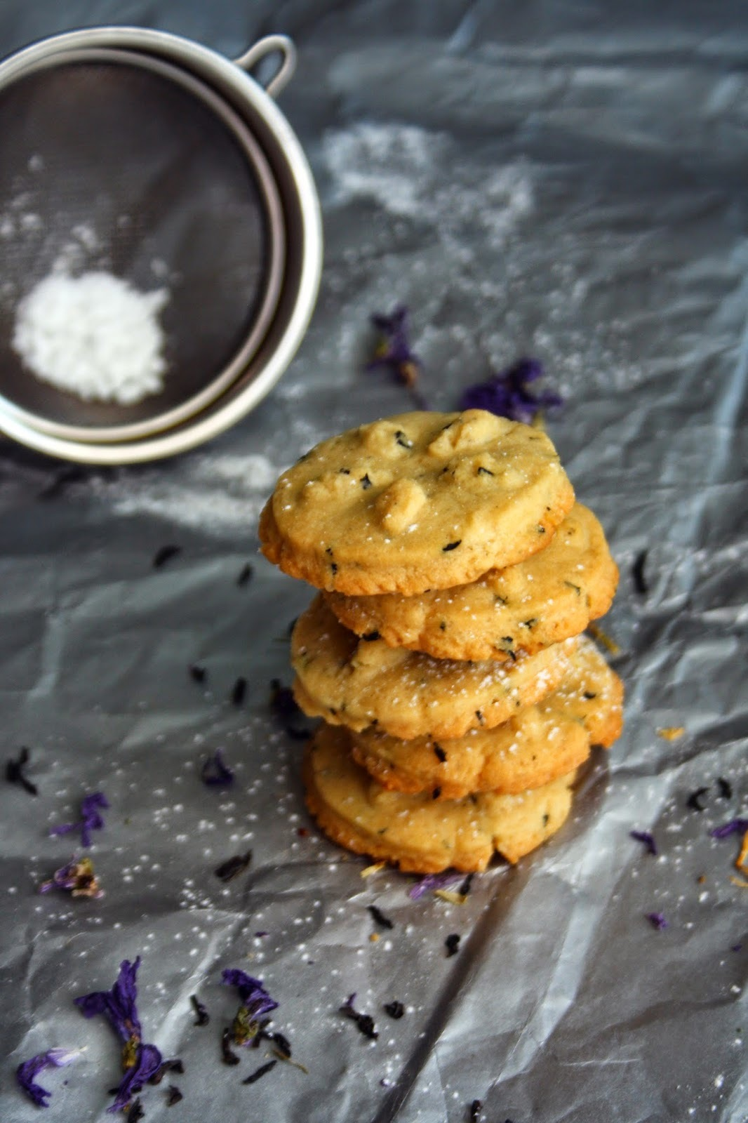 Earl Grey and violet shortbread biscuits