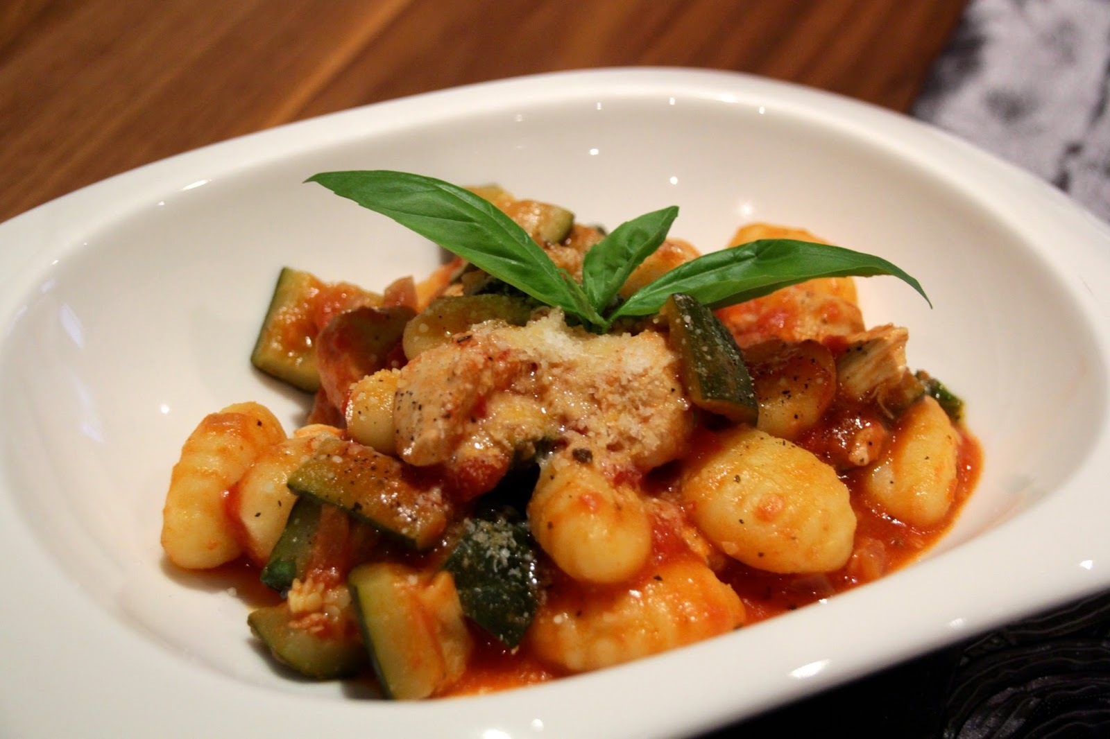 Gnocchi with chicken & courgette sauce