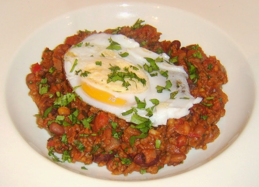 Five Bean Chilli with Fried Duck Egg
