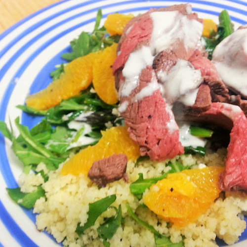 Cous Cous with Seared Beef, Feta and Orange Salad