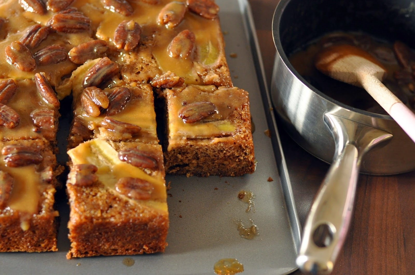 Upside-down Banana Cake with Maple-caramel Sauce