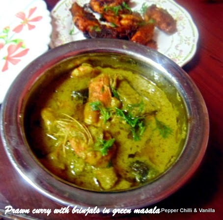 Prawns Curry with Brinjal in Green Masala